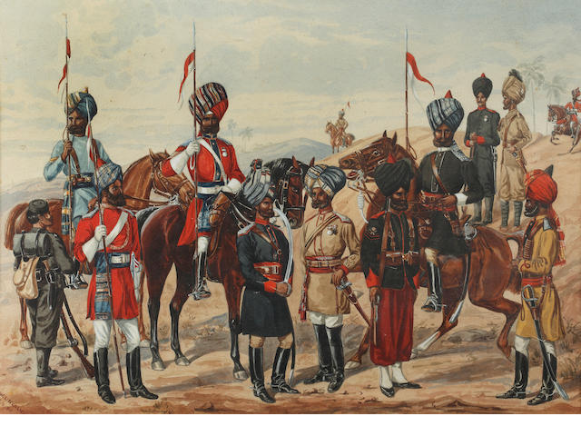 S. W. Lincoln (late 19th Century)  A group of Indian lancers and soldiers