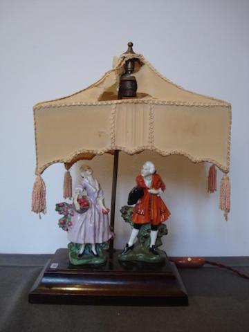 Doulton Burslem A rare double figural Lamp