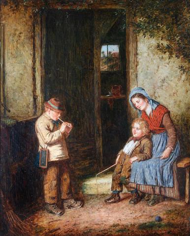 Mark William Langlois (British, active 1862-1873) At the cottage door,