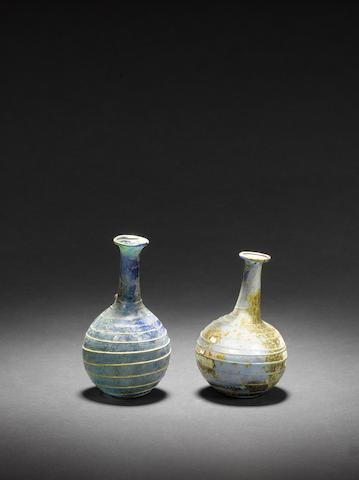 Two Roman blue glass bottles 2