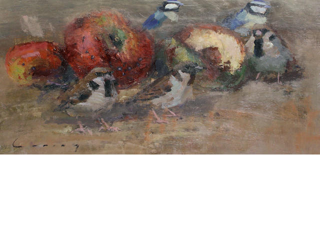 Fred Cuming (British, born 1930) Sparrows feeding on apples