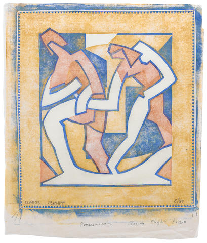Claude Flight (British, 1881-1955) 'Persuasion' and 'Discussion' Linocuts, c1929, printed in yellow ochre, vermilion and cobalt blue, on cream oriental laid tissue, with margins, signed and numbered consecutively 8/50 and 11/50 in pencil, signed and titled in ink in lower margin, 302 x 270mm (11 4/5 x 10 2/3in)(I) 2