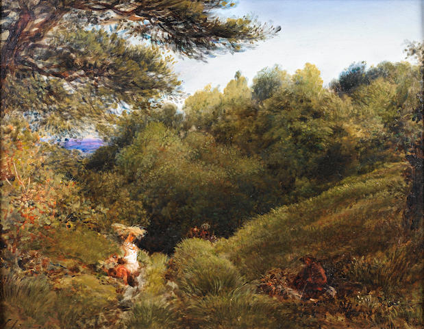 John Linnell (British, 1792-1882) A Surrey glade