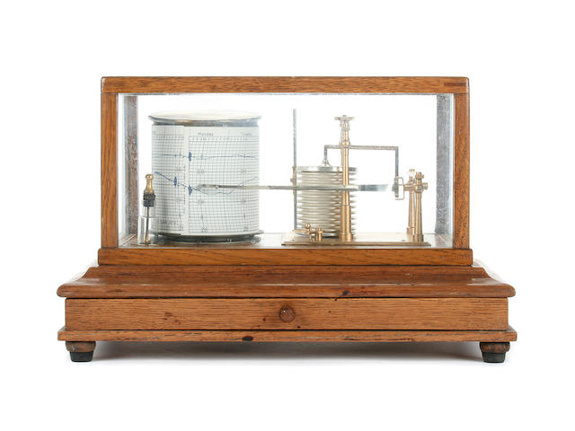 A mid 20th Century oak cased barograph Short & Mason, London, No. C4845 4