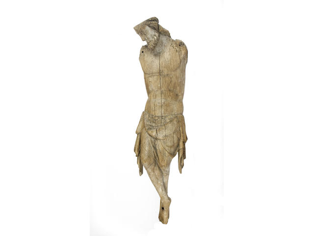 A large Gothic 14th century carved oak fragmentary figure of Cristo Vivo