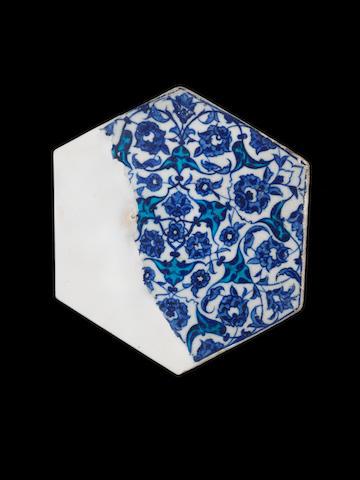 An Iznik blue and white pottery Tile Fragment Turkey, circa 1530