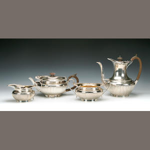 A Victorian 4 piece tea & coffee service by the Barnards, London 1895