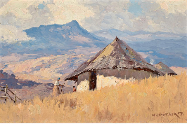 Willem Hermanus Coetzer (South African, 1900-1983) African hut in mountains