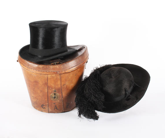 A Lincoln Bennett & Co black silk top hat and a French dark beaver hat