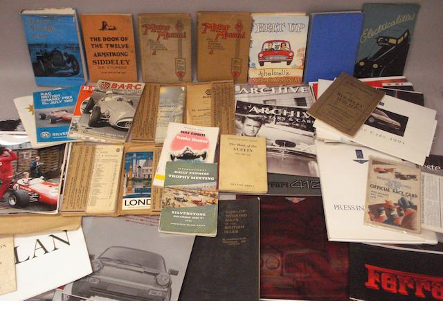 Assorted books, sales brochures, race programmes and ephemera,