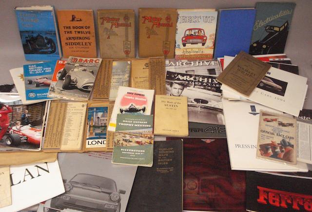 Assorted books, sales brochures, race programmes and ephemera,