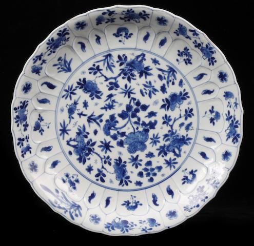 A Kangxi blue and white shallow dish