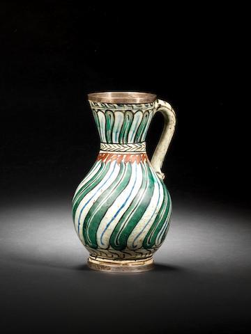 An Iznik pottery Jug Turkey, circa 1600