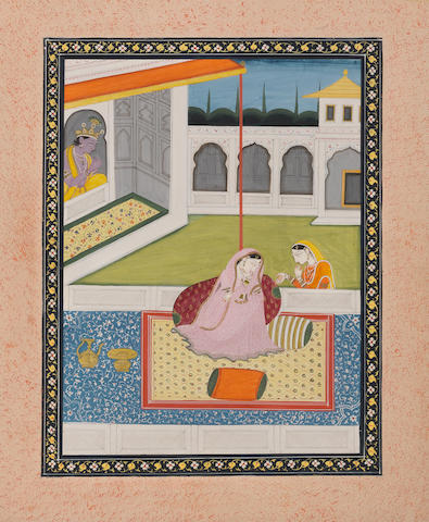 Radha with attendant probably Kangra, circa 1820