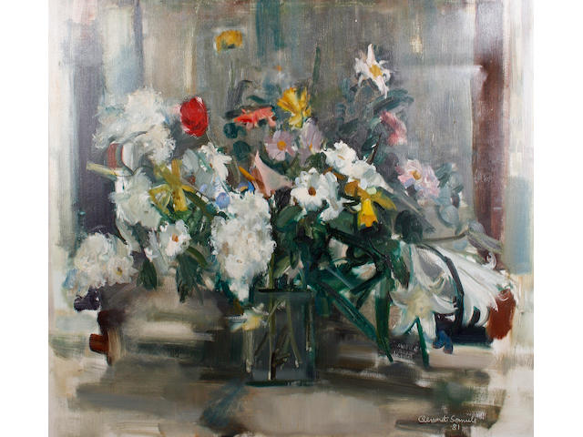 Clement Serneels (Belgian, 1912-1991) Still life of flowers in a vase