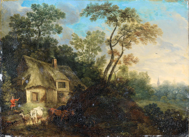German School, 18th Century A herdsman and his cattle approaching a shed in a wood, a village in the distance; and Elegant travellers with a peasant (2)