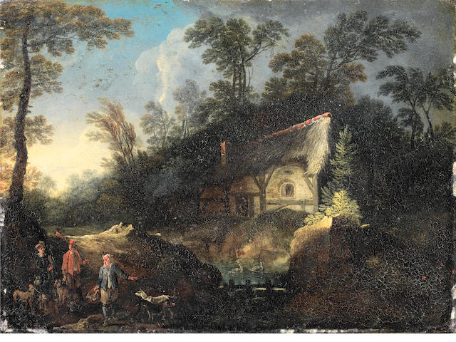 Attributed to Ernest Daret, called Monsu Ernesto (active circa 1670-after 1690) A herdsman and his cattle approaching a shed in a wood, a village in the distance; and Elegant travellers with a peasant in a wood before a shed   (2)