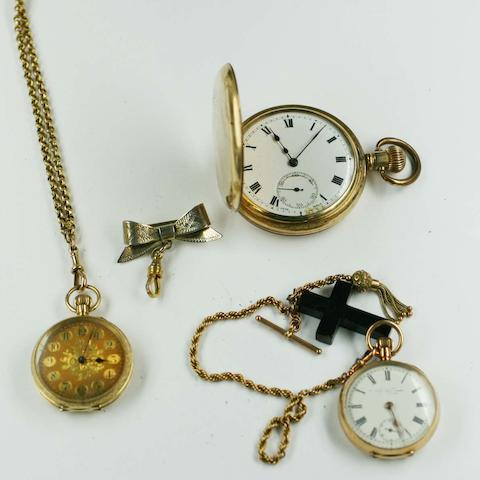 An 18ct gold open faced fob watch,