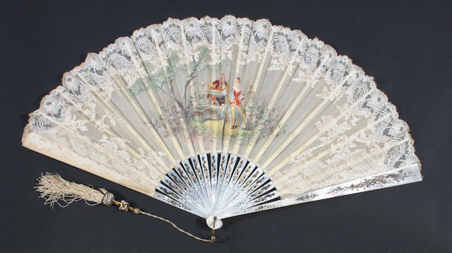 A lace fan with hand painted scene