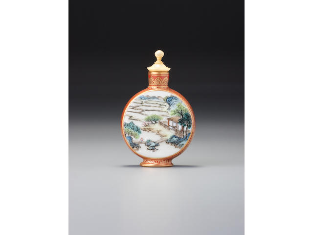 A 'famille-rose' porcelain moonflask 'landscape' snuff bottle Attributed to Tang Ying, Imperial kilns, Jingdezhen, Qianlong iron-red seal mark and of the period, 1736–1756