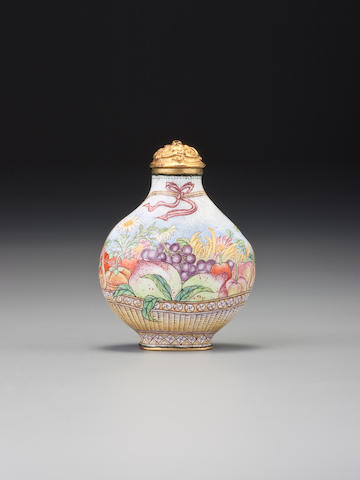 Beijing palace enamel on metal basket of flowers. Qianlong mark