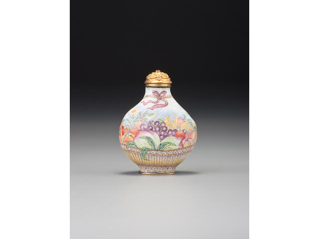 A Beijing enamel 'basket of flowers' snuff bottle Imperial, palace workshops, Qianlong blue-enamel mark and of the period, 1736–1770