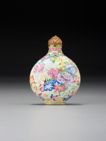 A Beijing enamel 'millefleurs' snuff bottle Imperial, palace workshops, Qianlong blue-enamel mark and of the period, 1736–1770