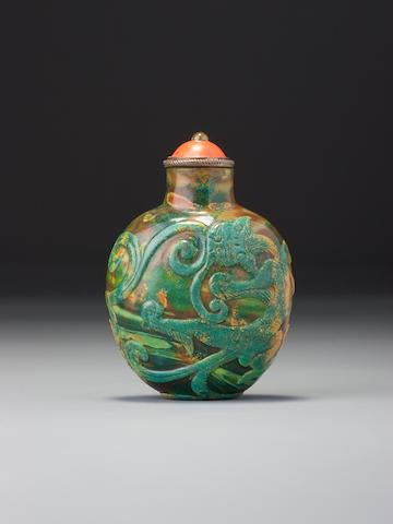 Realgar glass with chi dragons