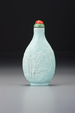 Chen Guozhi pale duck-egg blue carved landscape porcelain