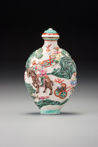 Moulded porcelain  tribue bearers.  Jiaqing mark.