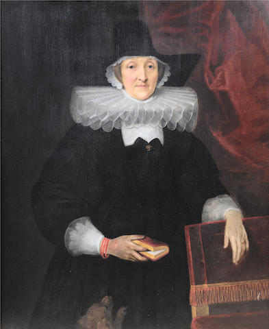 English School, 17th century Portrait of a lady holding a book