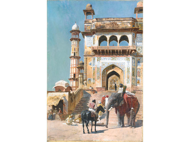 Edwin Lord Weeks (American, 1849-1903) Before the Great Mosque at Mathura
