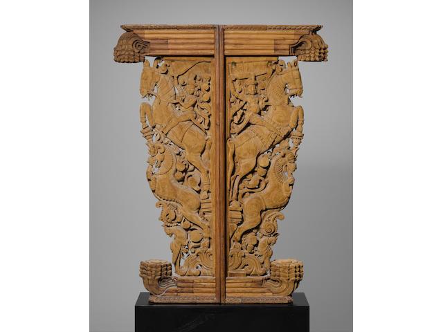 Two wooden brackets Tamil Nadu (2)