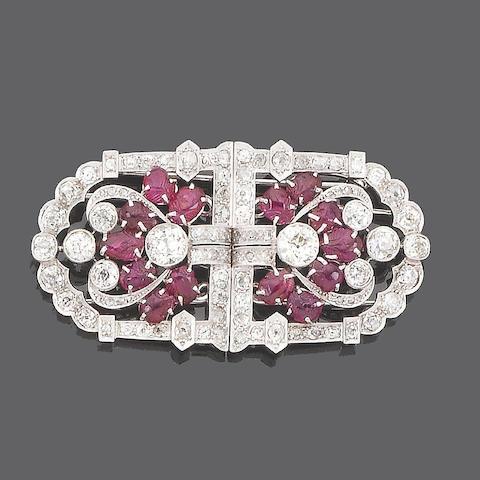 An art deco ruby and diamond double-clip brooch,