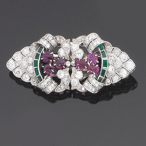 An art deco ruby, emerald and diamond double-clip brooch,