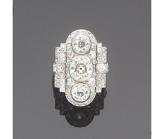 An art deco diamond dress ring,