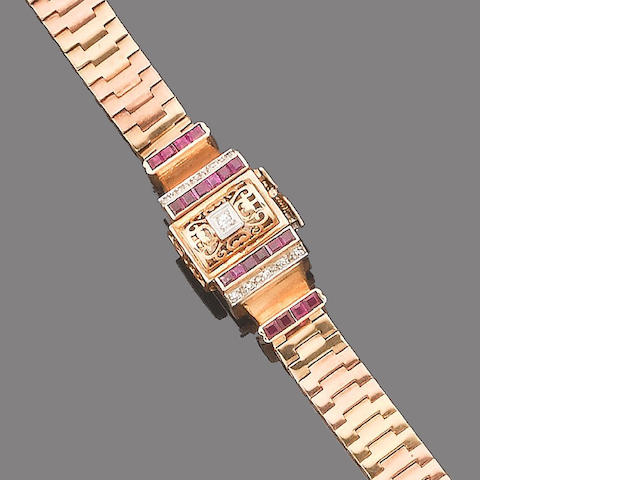 A ruby, synthetic ruby and diamond wristwatch,