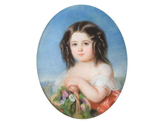 French School (circa 1860) Portrait of a young girl holding a basket of flowers,