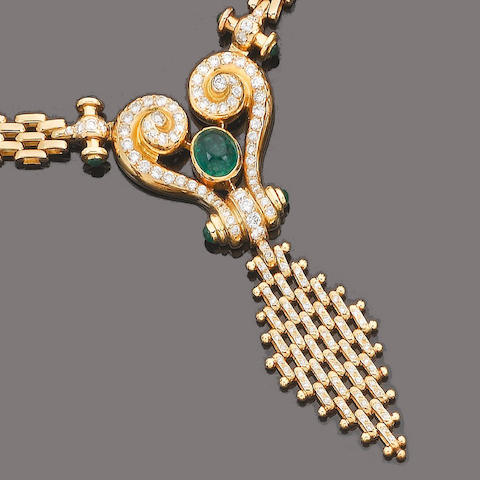 An emerald and diamond necklace and earclip suite (2) (partially illustrated)