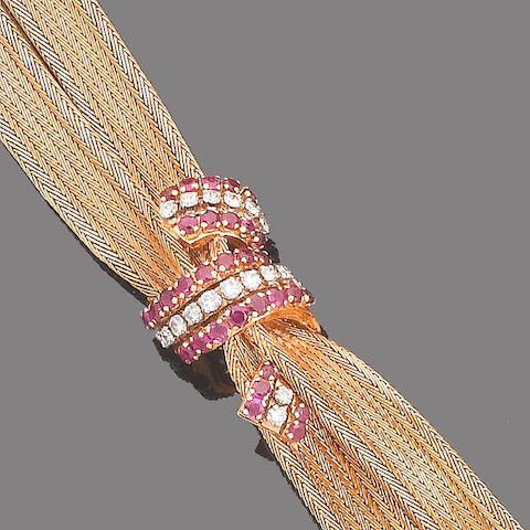 A ruby, synthetic ruby and diamond bracelet,