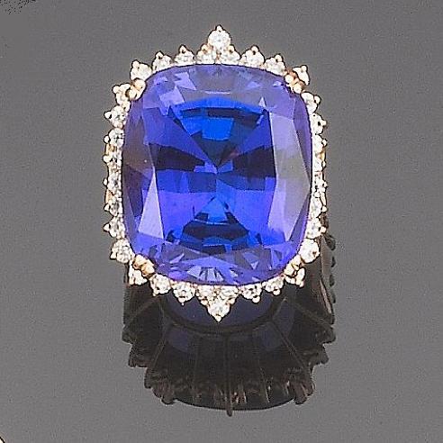 A tanzanite and diamond dress ring