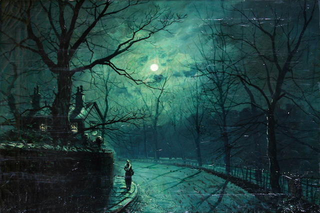 Walter Linsley Meegan (British, 1859-1944) A moonlit street,