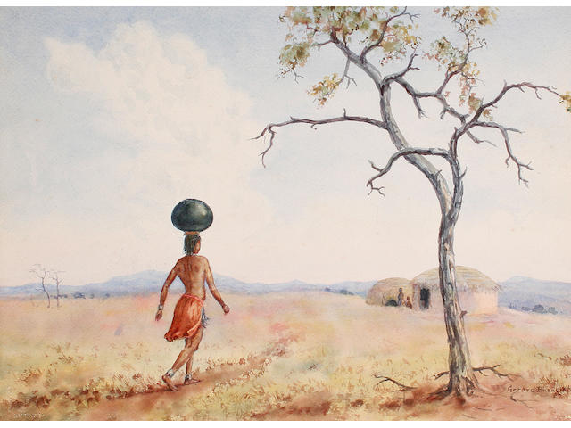 Gerard Bhengu (South African, 1910-1990) Water-carrying girl