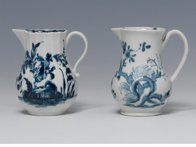 Two Worcester sparrow beak jugs circa 1754-56 and 1770