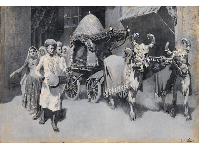 (n/a) Edwin Lord Weeks (American, 1849-1903) A wedding procession in Ahmedabad, India unframed