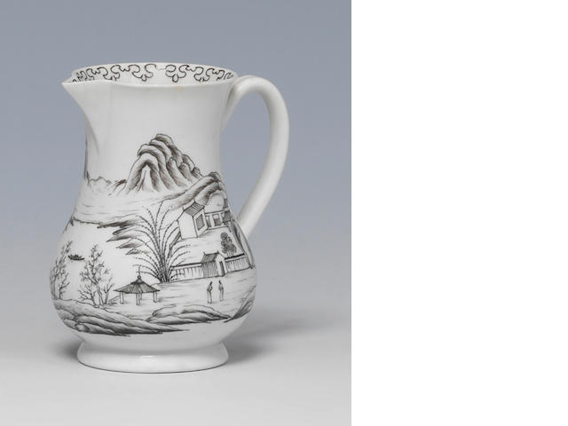 A Worcester sparrow beak jug, c.1757, finely pencilled with Chinoiserie landscape and a dagger border inside