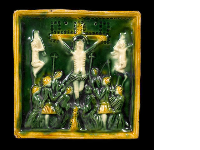 Staffordshire square Whieldon glazed Crucifixion plaque