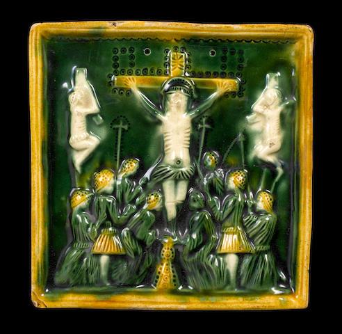 Staffordshire square Whieldon glazed Crucifixion plaque