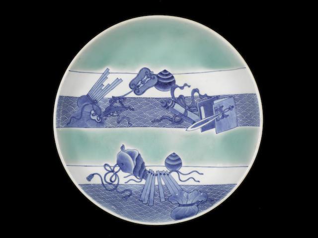 A fine and rare Nabeshima shaku-zara (large dish) Circa 1690-1760