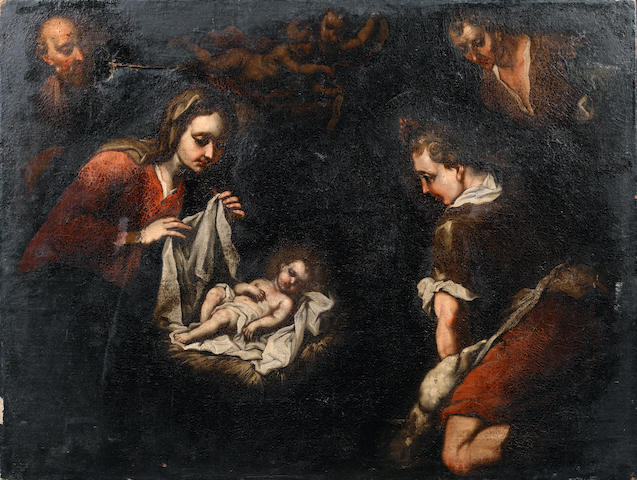 Circle of Maestro di Monticelli d'Ongina (active Genoa 17th Century) The Adoration of the Shepherds unframed